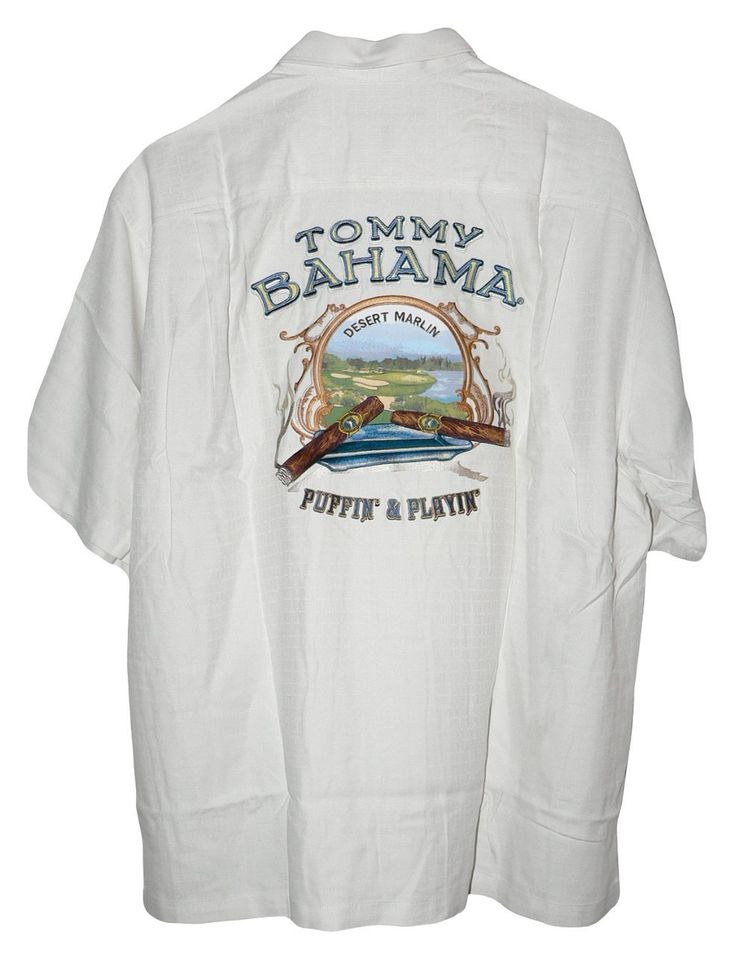 Tommy Bahama Embroidered Desert Marlin Puffin And Playin