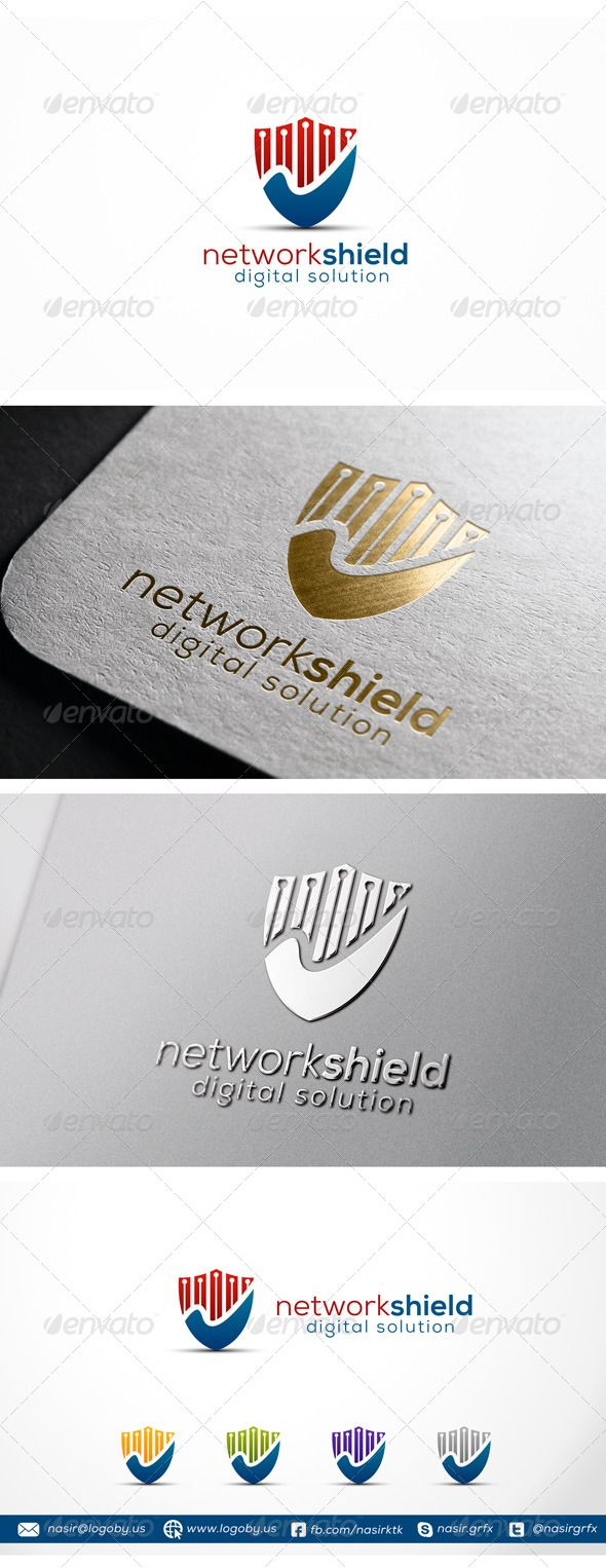 Security Shield Logo Template This is a modern and clean and Shield logo. It stands out and instantly recognizable. Perfect for Communication Security, online protection, internet, networking or technology. The logo looks great on white and black backgrounds. It will look great on a business card, letterhead or envelope, as well as a web site or any other digital media.