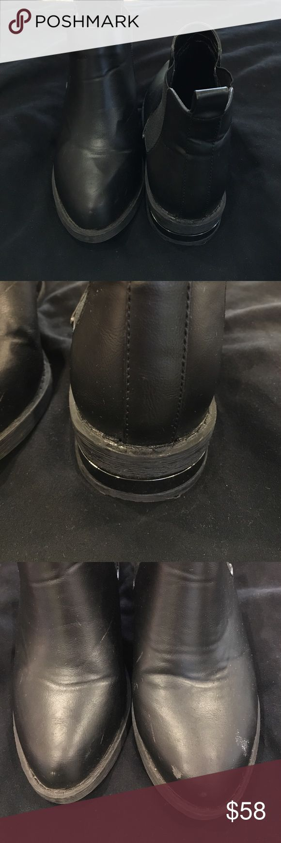 River Island Black Combat Booties Black booties with metallic detail on heel. In good preloved condition River Island Shoes Ankle Boots & Booties