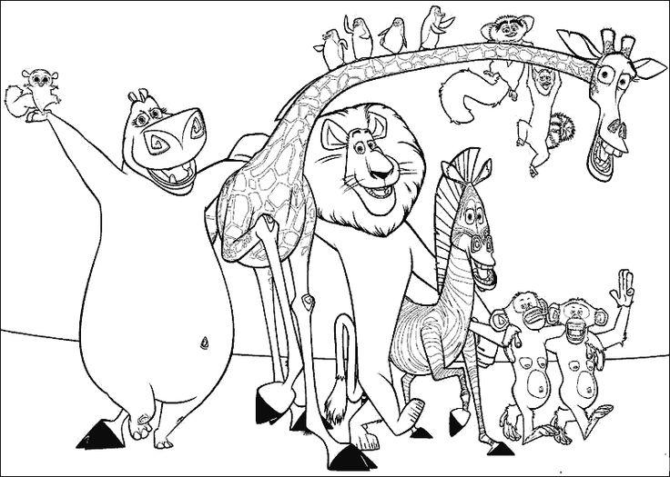 PERSONAJES DE MADAGASCAR,JIRAFA,ZEBRA,LEON,MONOS Y PINGÜINOS ...