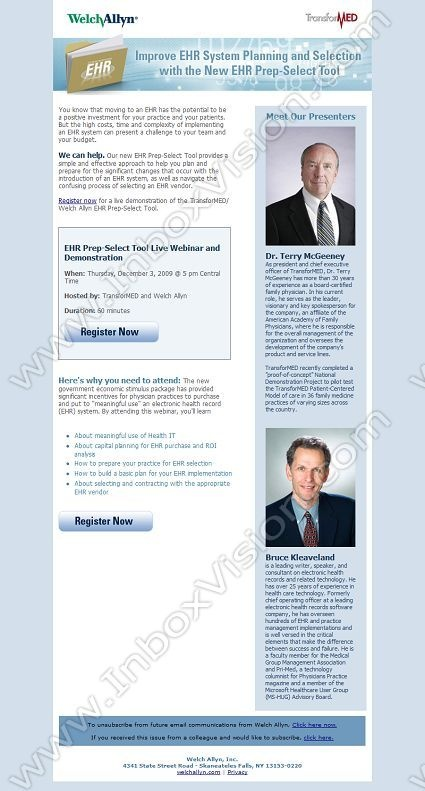 Company:  Welch Allyn Inc   Subject:  Webinar: Improve EHR Planning and Selection with New Prep-Select Tool               INBOXVISION providing email design ideas and email marketing intelligence.     http://www.inboxvision.com/blog  #EmailMarketing #DigitalMarketing #EmailDesign #EmailTemplate #InboxVision #Emailideas #NewsletterIdeas