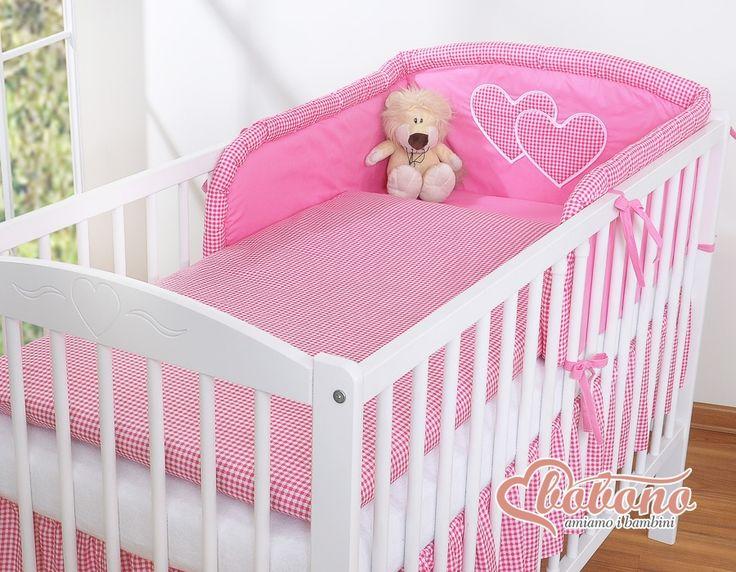 Pościel Serduszka pepitka ciemny róż - 3cz - Pościel dla dzieci i niemowląt - największy sklep internetowy
