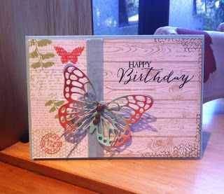 Stampin Up Butterfly Basics & Hardwood card by Jan Clothier