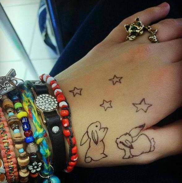 25 best images on pinterest bunny tattoos rabbit for Small bunny tattoo