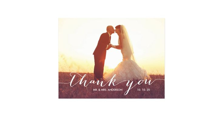 """Send out your wedding thank you message as newly weds to your friends and family using this beautifully, simple thank you wedding photo postcard with the words """"thank you"""" written in a white handwriting script text overlay. Wedding Thank You Postcards with Your Photo. Design by Elke Clarke© . Replace the sample photo with your own. Add your personal thank you message on the back or leave blank and hand write your message in person. Other colours available."""