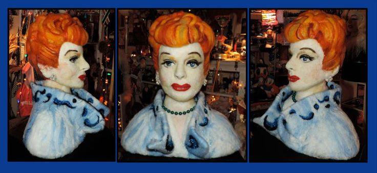 "I Love LUCY Needle felted wool sculpture 18"" x 12"" x 20"""