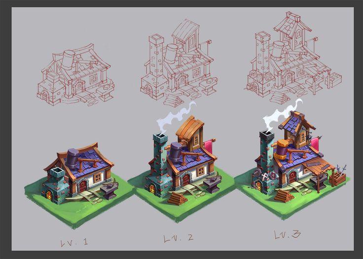 Smithy design test, Luna Jiang on ArtStation at https://www.artstation.com/artwork/smithy-design-test