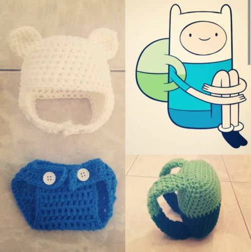 noisilyatomicpeace: Crochet Adventure Time Finn the Human outfit (included in a beanie/hat, a diaper cover and a backpack)