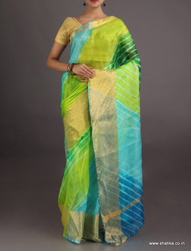 Kalpana Blues And Greens Broad Gold Border #LehariyaSilkSaree