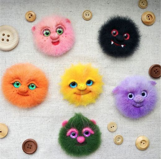 Cute Needle felted project wool animals monsters(Via @topolyushka)