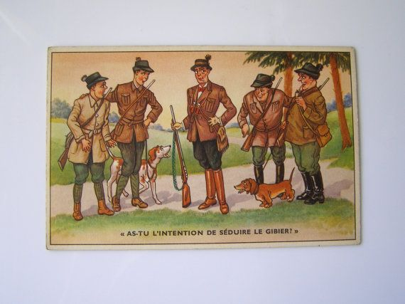 CARTE POSTALE HUMORISTIQUE - Humorous Postal Cards on Hunters - vintage - 50's