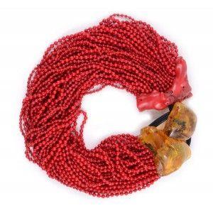 Collar Monies de coral rojo y ambar www.sanci.es