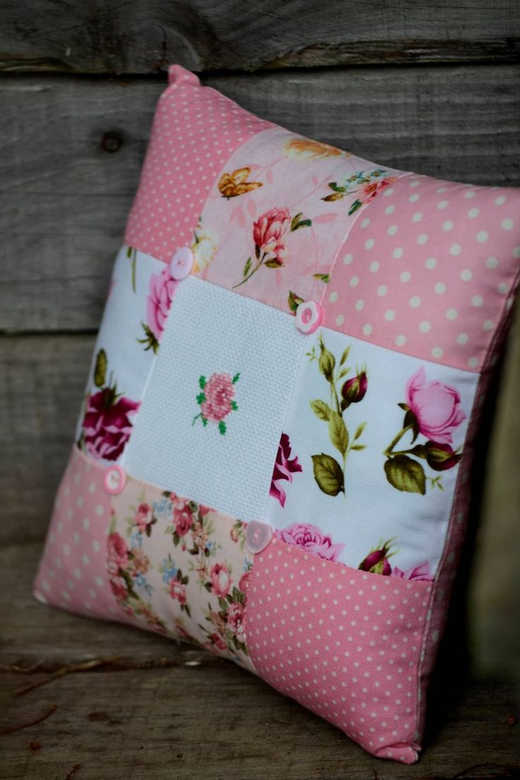 Patchwork Cushion, Cross Stitch Motif, Pink, Vintage, Floral, Buttons by HeartmadeSouthAfrica on Etsy