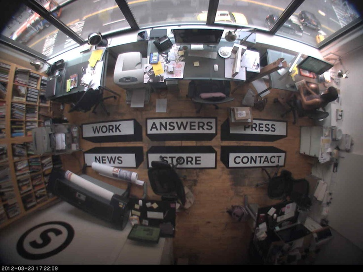 Cool website that integrates a live web cam as its home page with navigation painted on the floor.: Navig Paintings, Enjoying 2013, Floors, Integration, Living Web, Web Cam, Fun, Homes, Cool Websites