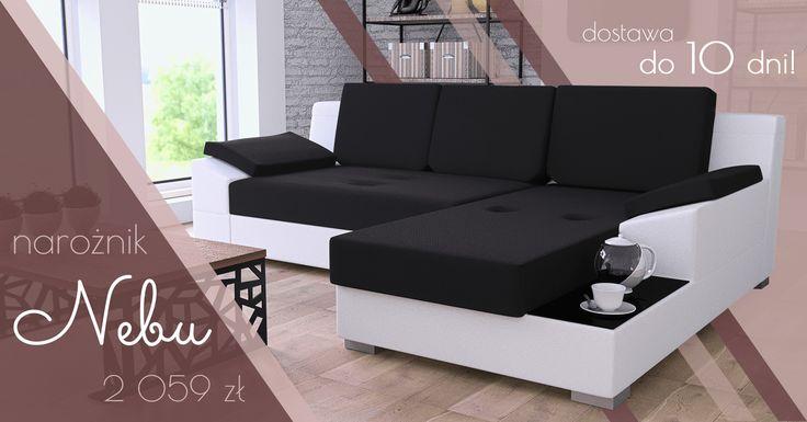 Only now in super promotion functional corner sofa Nebu  - absolutely check! Tylko teraz w super promocji funkcjonalny narożnik Nebu - sprawdź koniecznie! #cornersofa #black #white #freetime #rest #mirjan24 #sweethome #livingroom #salon #rodzina