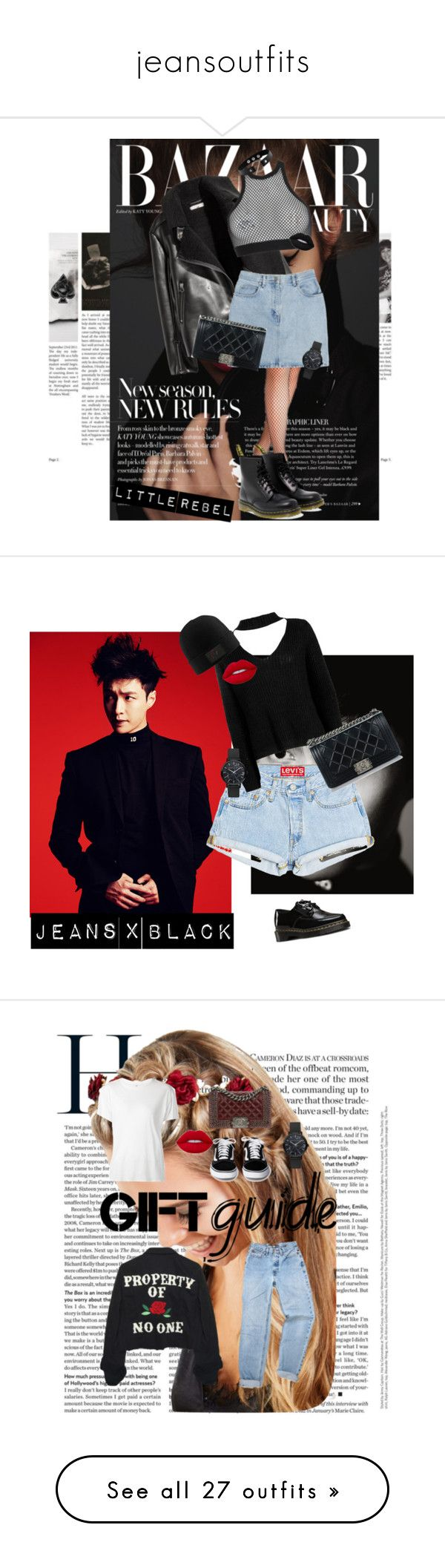 """jeansoutfits"" by blondsailorina on Polyvore featuring Mode, Bill Blass, Dsquared2, Dr. Martens, Chanel, Boohoo, Lime Crime, Johnny Loves Rosie, R13 und High Heels Suicide"