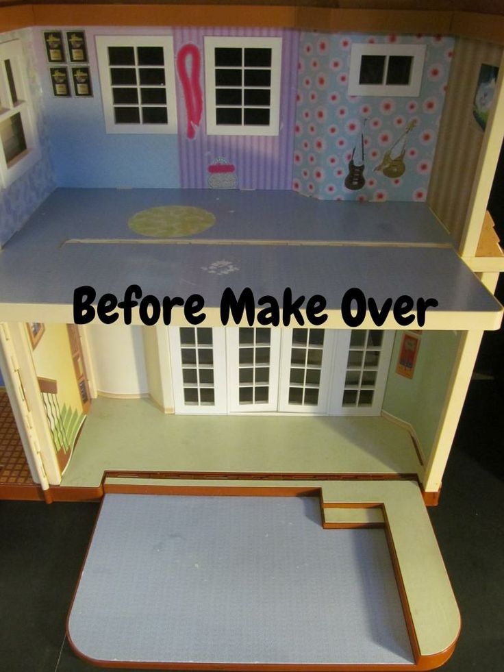 Before make over ooak barbie house created by michele for S furniture tunstall
