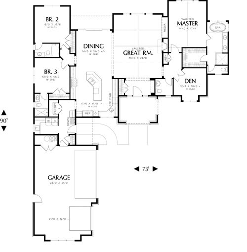 Kitchen Open To Den: First Floor Plan Image Of BridgeView House Plan Close