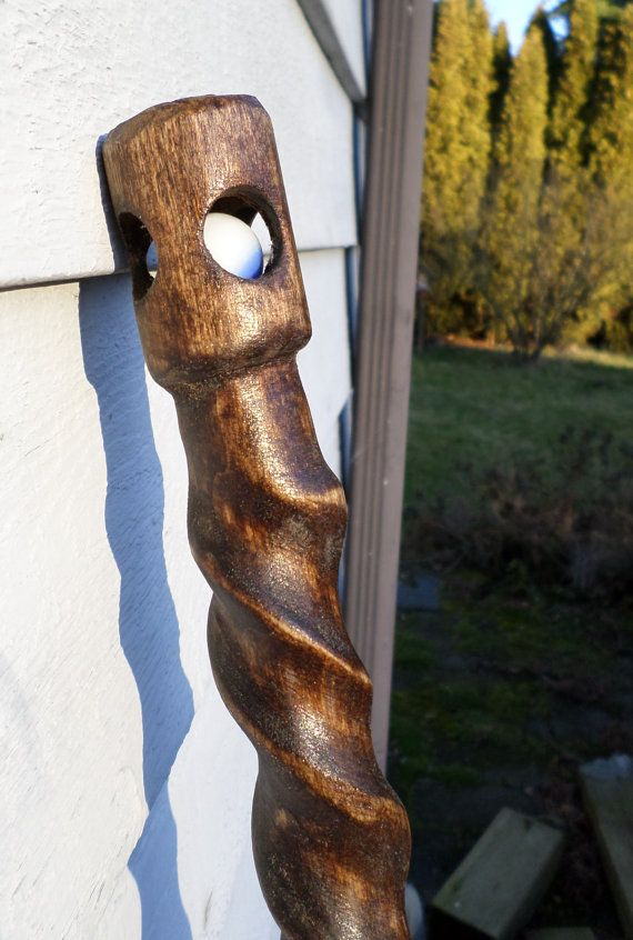 Hand Carved Magic Marble Spiral Wood Walking Staff by SMITHCOShop, $75.00