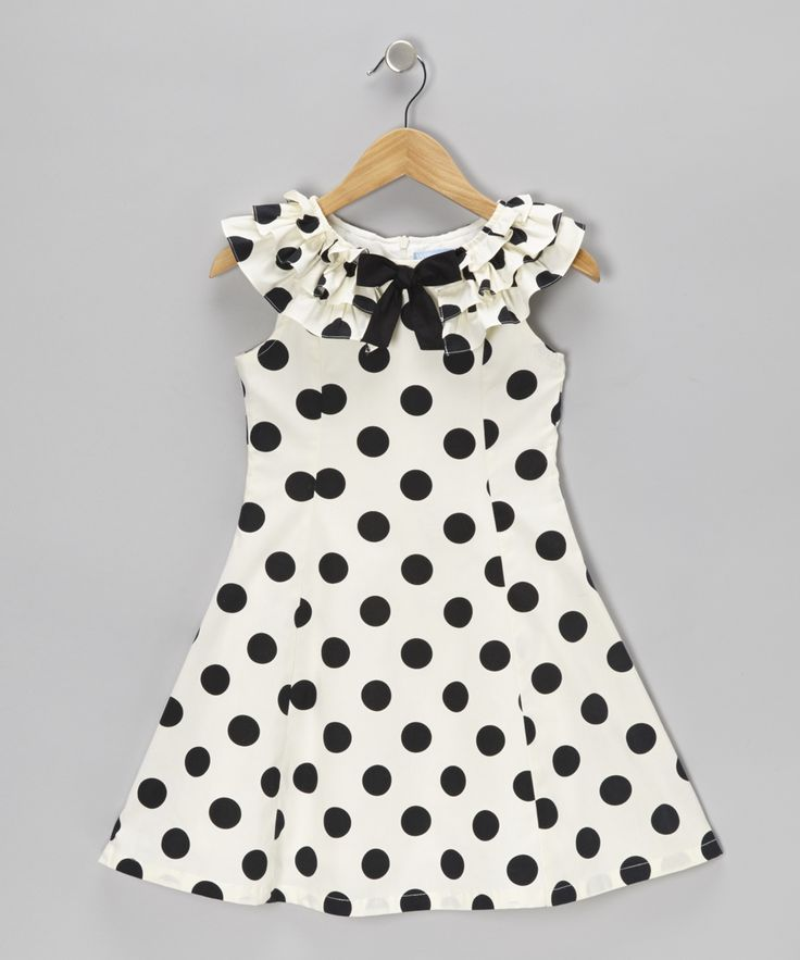 Black & Cream Polka Dot A-Line Dress - Girls | Daily deals for moms, babies and kids