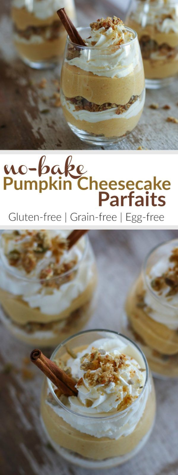 Impress your guests this Holiday season with these adorable No-Bake Pumpkin Cheesecake Parfaits. This gluten-free, grain-free and egg-free dessert combines the ever-so-popular pumpkin pie and traditional cheesecake   therealfoodrds.com