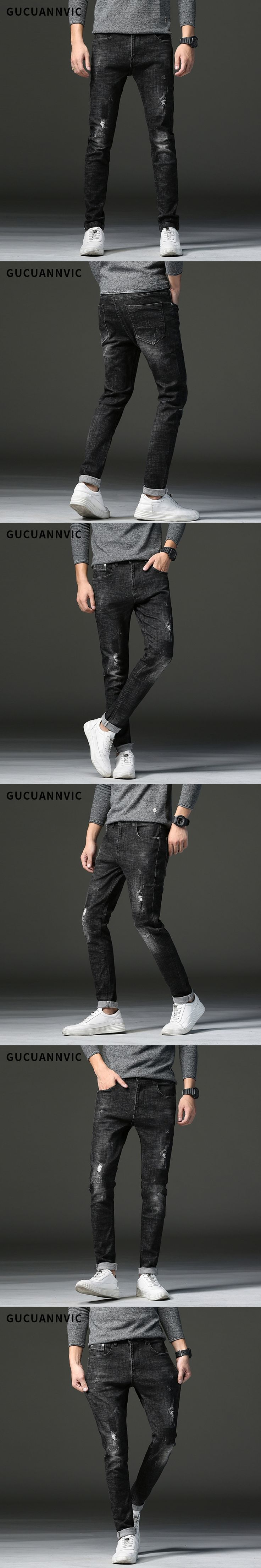 New Men Designer Jeans men Famous brand Full length Straight man Jeans Slim thin men's jeans  black pants