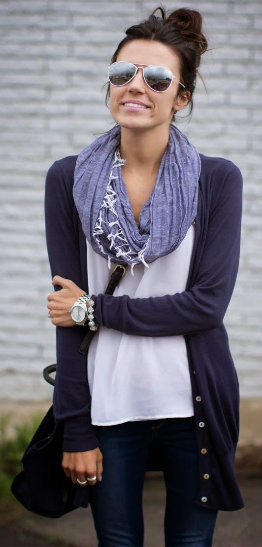 cardigan, shirt, scarf and jeans