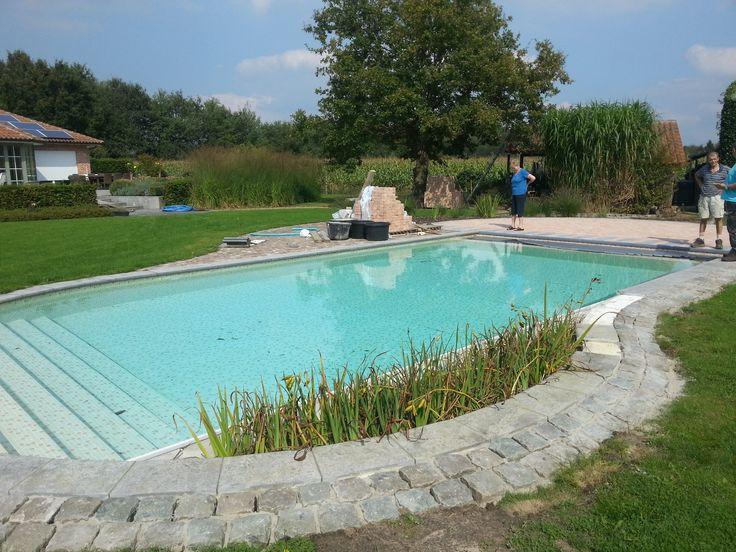 Herbouwen zwembad met liner elbe mosaic terracotta for Zwembad half inbouw