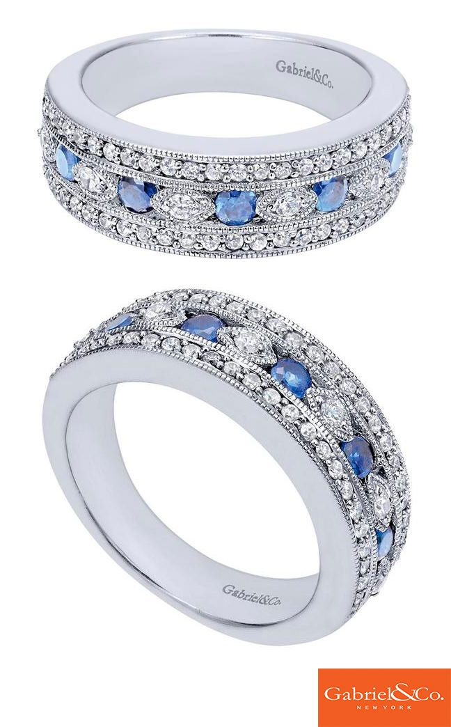 This gorgeous 14k White Gold Diamond and Sapphire Ring by Gabriel & Co. is such an amazing piece! Diamonds and sapphires are always a stunning match. This beautiful ring has perfect little diamonds all around it!