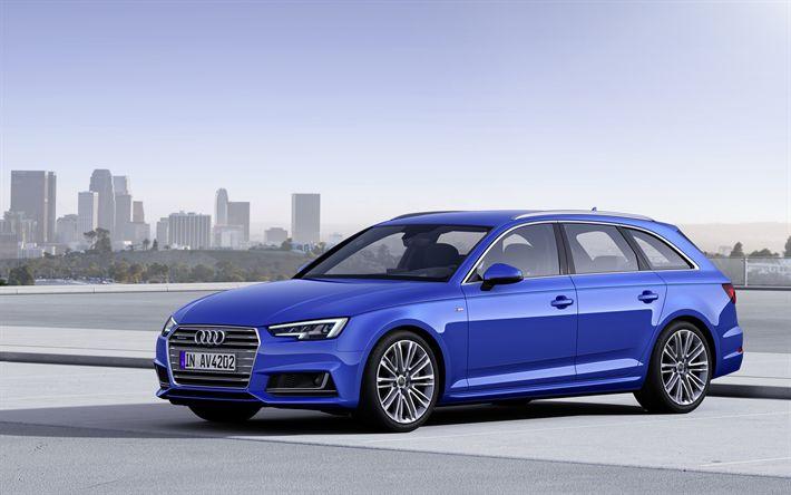 Descargar fondos de pantalla Audi A4 Avant, 2017, TDI quattro, azul A4, station wagon, alemán coches, coches nuevos, Audi