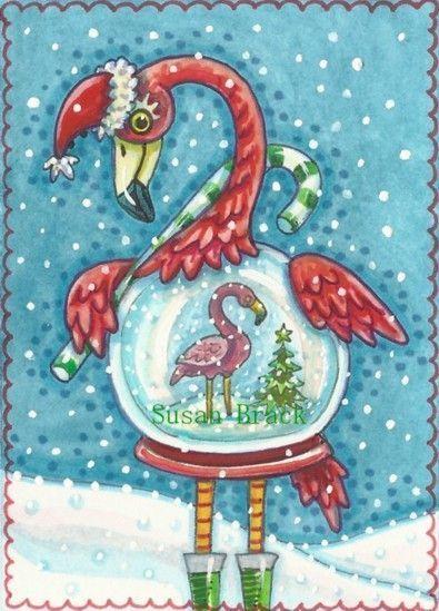 Flamingo White Christmas Had Fun Creating This Piece Susan Brack Original Aceo Christmas Snow