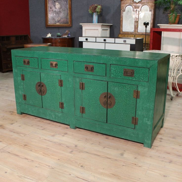 Glossy Green Cabinets Infuse Vitality To This Kitchen: Big Green Lacquered Chinese Sideboard Of The Twentieth