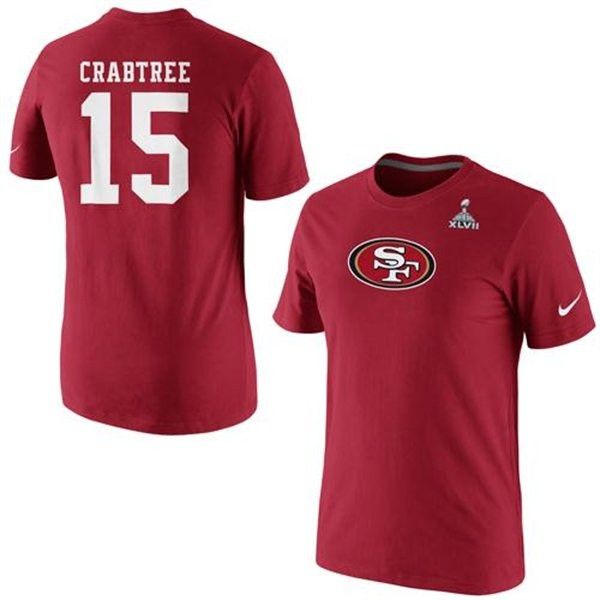 bb2337c1c ... 15 Michael Crabtree White Youth Game Jersey Nike Michael Crabtree San  Francisco 49ers Super Bowl XLVII Bound Name and Number T-Shirt ...