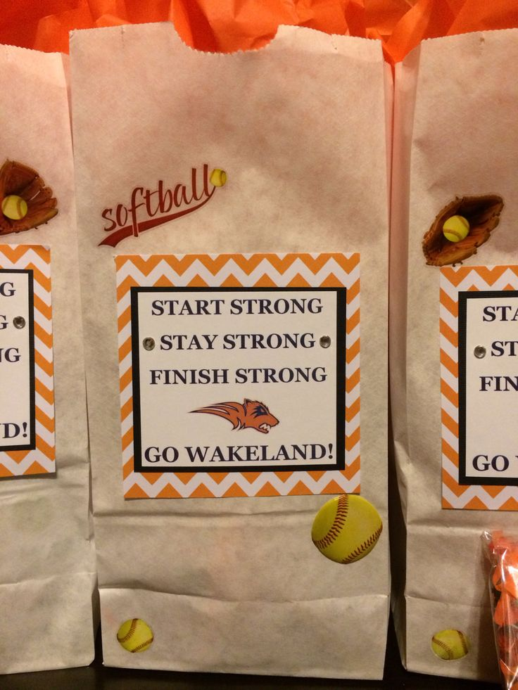 Softball Game Day Treat Bags  Start Strong Stay Strong Finish Strong Go Wakeland!  Props to Marcy Stotler, whom I copied the design from!