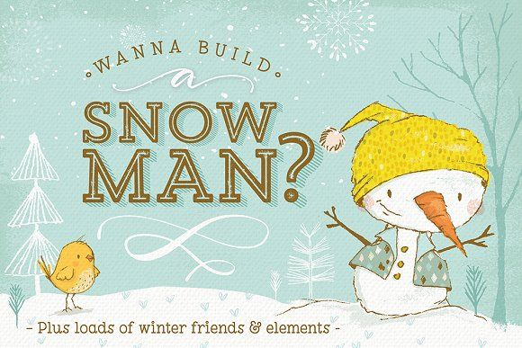 Build your own Snowman and more! by Lisa Glanz on @creativemarket