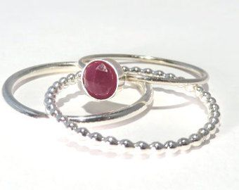 Anillos de piedras preciosas apilable anillos rubí de