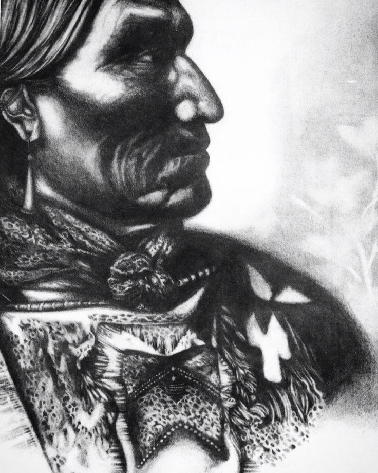 Pencil drawing of American Indian Chieftan