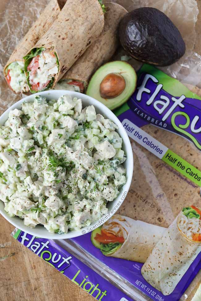 This easy Avocado Ranch Chicken Salad is loaded with flavor (contains no mayonnaise) for a deliciously lighter version for a low cal lunch or light dinner!