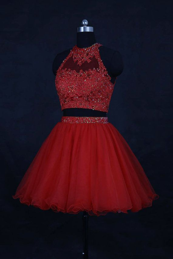 2016 Red Two Pieces Homecoming Dress/Short Beading Homecoming Dresses/Short Lace Prom Dress/Cocktail Dress/2016 Homecoming Dress WDD059