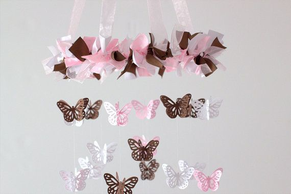 Pink Brown Nursery Mobile Butterflies in Pink by LovebugLullabies