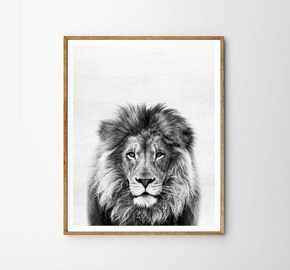 Lion print Nursery Animal Kids room Modern art by WallArt2Decor