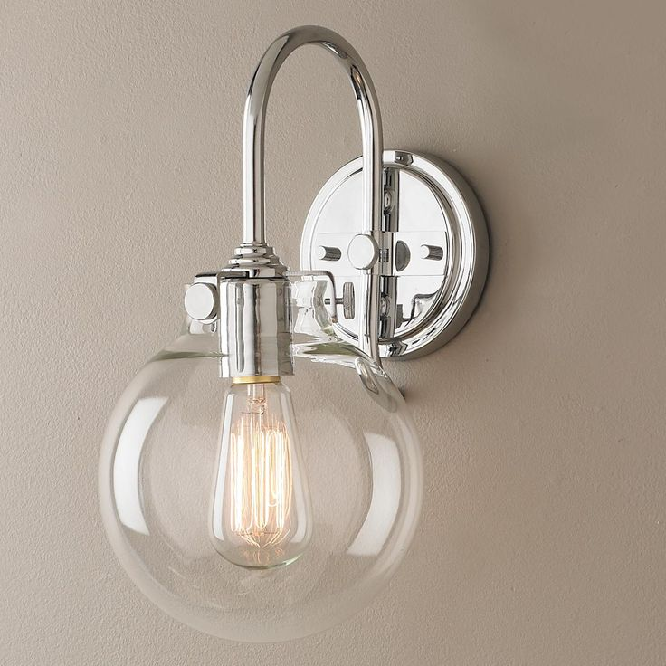 Retro Glass Globe Wall Sconce Polished chrome, Glasses and Wall sconces