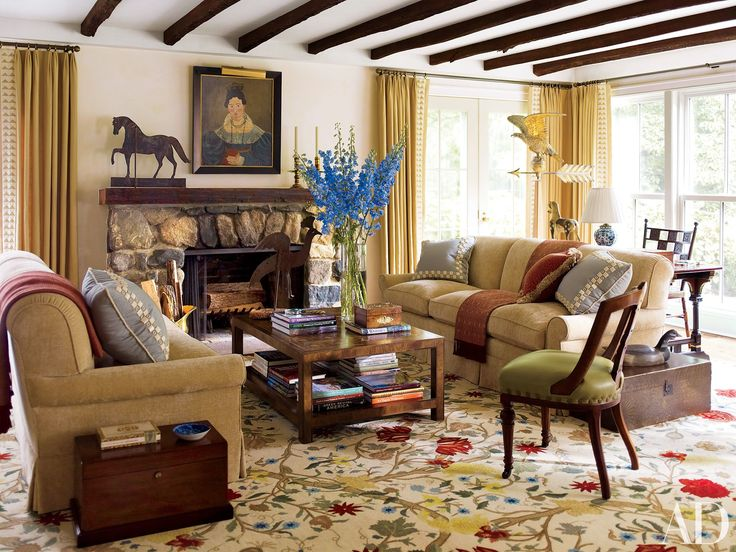 Structural Ceiling Beams That Add Dimension. Country Style Living ...