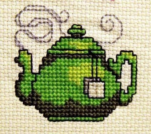 Duplicate Stitch Patterns of teapots | Uploaded to Pinterest