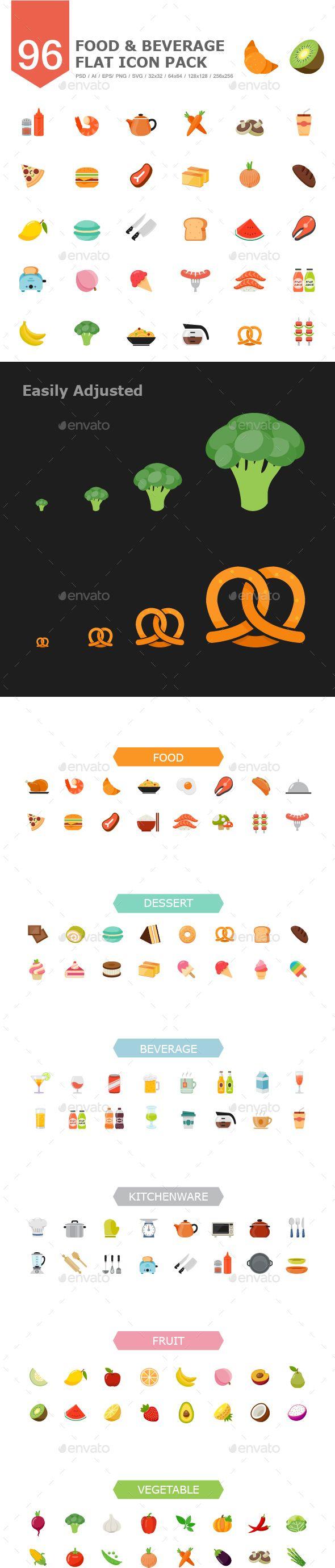 96 Food&Beverage Color Flat Icon