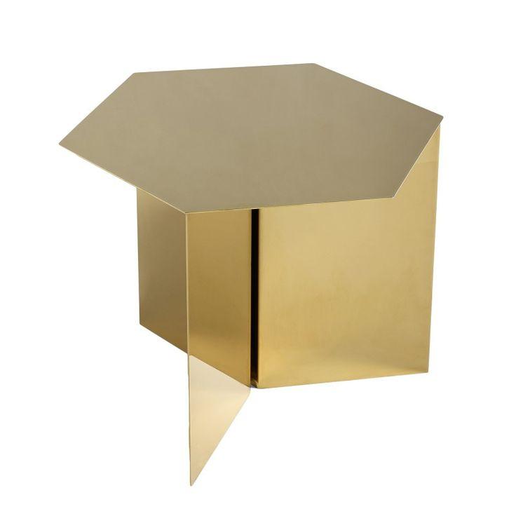 Hexagon side table SLIT in powder coat steel or brass mirror - HAY