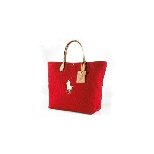Ralph Lauren 2008 Toile / PU Tote en rouge