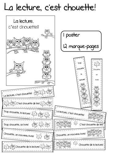 12 marque-pages/guide-lignes et 1 poster 'la lecture, c'est chouette'!   Petits cadeaux à colorier pour mes élèves qui ont fait de leur mieux en ce début d'année!
