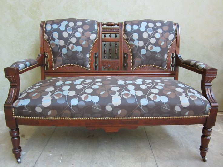 #settee #refinished & #reupholstered by  AM Furniture Finishing - customer's own fabric
