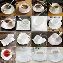 Autêntico Osso China Estilo Europeu de Ouro Incrustada Osso China Xícara de Café Pires Colher de Café Clássico Simples Define Para O Amigo Presente(China)